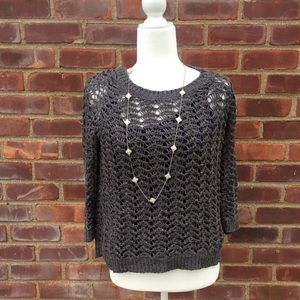 Tops - Woman's Grey Crochet Sweater .